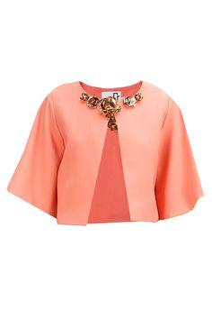 Peach metal flowers embellished bolero jacket BY NIKHIL THAMPI. Shop now at: www.perniaspopups... #perniaspopupshop #designer #stunning #fashion #style #beautiful #happyshopping #love #updates