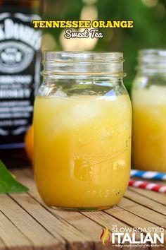 Tennessee Orange Sweet Tea (1 oz Jack Daniels Whiskey 3 oz orange juice 1/2 oz amaretto liqueur)