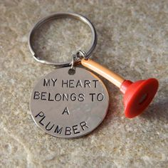 My Heart Belongs to a Plumber Keychain by WireNWhimsy on Etsy, $30.00