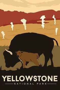 Yellowstone National Park - Bison and Calf - Lantern Press Artwork