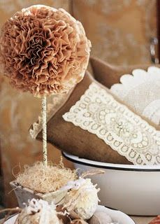 Coffee filter crafts, wreaths and topiarys.   cute for wedding decor