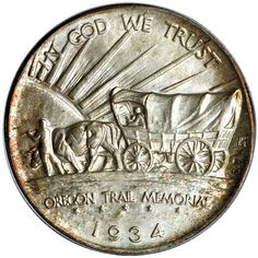 The Oregon Trail Commemorative Half Dollar Us Coins, Rare Coins, Coin Art, Gold And Silver Coins, Oregon Trail, Antique Coins, Commemorative Coins, Half Dollar, Ancient Artifacts