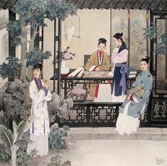 (China) Courtyard by Zhao Guojing ) & Wang Meifang ). Chinese Landscape Painting, Chinese Painting, Traditional Paintings, Traditional Art, Japanese Prints, Japanese Art, Ancient Chinese Architecture, China Art, Art Academy