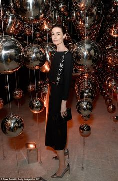 """elizabethswardrobe: """" Erin O'Connor at the South Tower Penthouse Suite Party """" Erin O'connor, Paloma Faith, Penthouse Suite, Metallic Heels, Satin Gown, Simple Style, Tower, Glamour, Style Inspiration"""