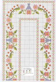 Handicrafts: Plans for embroidered tablecloths / Tablecloth cross stitch patterns Cross Stitch Borders, Cross Stitch Flowers, Cross Stitch Charts, Cross Stitch Designs, Cross Stitching, Cross Stitch Patterns, Ribbon Embroidery, Cross Stitch Embroidery, Embroidery Patterns