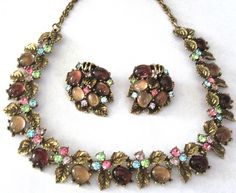 ART Signed Golden Leaves Colorful Rhinestone Glass Cabochon Necklace Earring Set