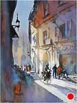 cycling in pisa by Thomas W. Schaller Watercolor ~ 24 inches x 18 inches