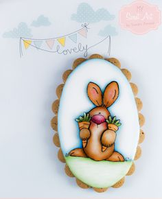 Bunny Easter Cookie. Handpainted. By My Sweet Art