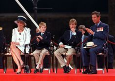 Princess Diana Prince Harry Prince William and Prince Charles at a parade in the Mall London during VJ Day commemorations August 1994 Diana is. Lady Diana Spencer, Diana Son, Royal Princess, Prince And Princess, Prince Harry, Charles And Diana, Prince Charles, Prince Phillip, Prince William Birthday