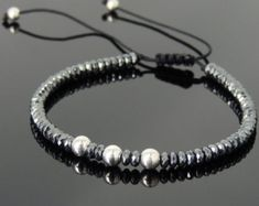 Men's Women Hematite Adjustable Braided Bracelet 925 Sterling Silver Bead DiyNotion BR820