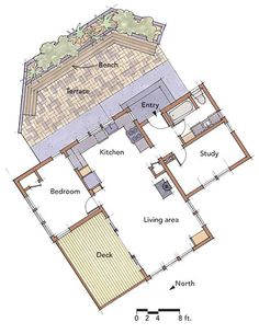 images about Thinking smaller on Pinterest   Floor plans    Tiny House   Bedrooms  plus a study that doubles as a guest room  Bathrooms  Size  sq  ft  Location  Gualala  Calif  Architect  Cathy Schwabe