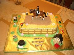 Homemade Dressage Horse Birthday Cake: It is hard to make an adult birthday cake themed with horses, but this Dressage Horse Birthday Cake is what I came up with after browsing eBay horsey toys