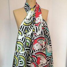 """Matriochka Kokeshi"" standard silk scarves, mimosas, rubis or turquoise, inspired by the famous matriochka"