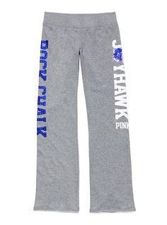 Kansas Jayhawks VS Pink bling pants. These look so comfy.