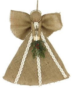 Burlap Angel Project from Crafts Direct Burlap Ornaments, Burlap Christmas Tree, Christmas Gift Baskets, Homemade Christmas Gifts, Christmas Angels, Christmas Crafts, Christmas Ornaments, Angel Ornaments, Christmas Stuff