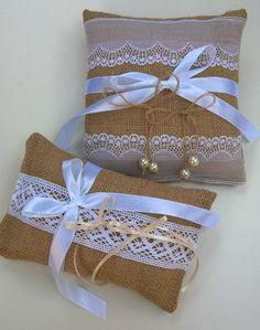 Burlap wedding ring pillow.
