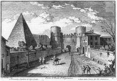 Etching, Giuseppe Vasi, Piramide di Caio Cestio & Porta San Paolo (Rome).