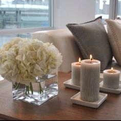 Decor | Hydrangeas & Candles Shelf decor for living room love this