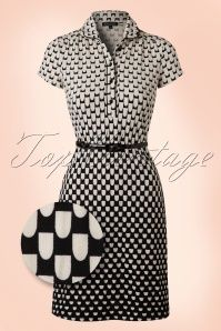 King Louie 60s Polo Black and Cream Dress 106 14 16539 20160215 0005b