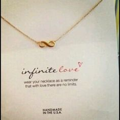 Gold dainty infinity necklace with card Gold plt infinity love necklace with card. Sherri Souza Jewelry & Boutique Jewelry Necklaces