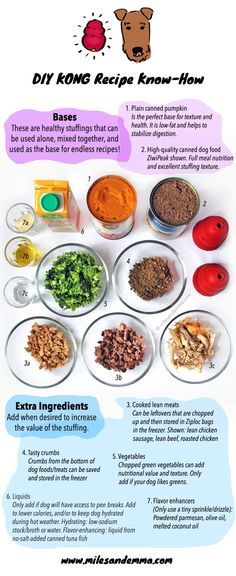 Learn how to make the perfect Kong recipes for your dog. Healthy, tasty Kong recipes every time. DIY Kong recipe know how, by Miles and Emma. Homemade Dog Treats, Healthy Dog Treats, Dog Treat Recipes, Dog Food Recipes, Food Tips, Kong Treats, Dog Pumpkin, Pumpkin Puree, Dog Enrichment