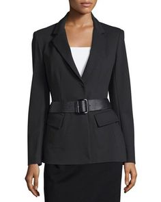 Belted Peplum Jacket, Black