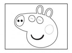 Your child can cut out and colour in this Peppa Pig face mask template for dressing up games!