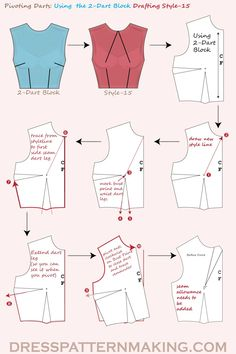 Pivoting Darts, Style 15 : Using the Bodice Block, pivot the side seam dart into the CF neck point. Dress Sewing Patterns, Sewing Patterns Free, Clothing Patterns, Pattern Drafting Tutorials, Pattern Sewing, Coat Patterns, Sewing Tutorials, Fashion Sewing, Diy Fashion