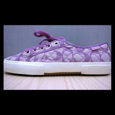 Coach Kalyn Purple Fashion Sneakers ●100% AUTHENTIC●    °NWTS    °Size 6B    °Style no: A3853    °Signature 'C' jacquard pattern    °Leather lining    °Quilted pattern  MSRP: $98 Listing price: $50 off MSRP! Coach Shoes Sneakers