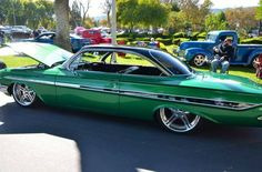 #BecauseSS 1961 61 impala green black low and show slammed tucked