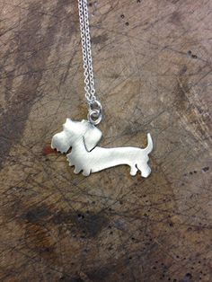 Sterling Silver Wire-haired Dachshund Pendant