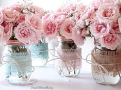 Burlap Mason Jars / Pink Blue Shower / rustic by BeachBluesBaby