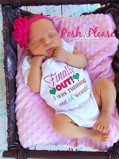 Baby Girl Newborn Birth Announcement Photo Prop BodySuit Onesie Outfit on Etsy, $12.50