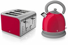Swan Kitchen Appliance Retro Set - Red Dome Kettle & Red 4...