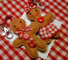 Handmade felt gingerbread man and lady keyrings