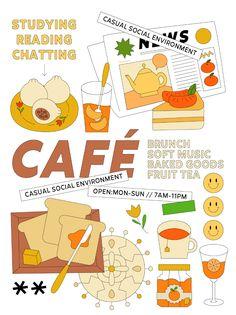 Poster → 01 on Behance Food Graphic Design, Graphic Design Posters, Graphic Design Typography, Graphic Design Inspiration, Branding Design, Digital Illustration, Graphic Illustration, Cafe Posters, Grafik Design