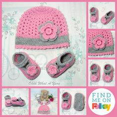 Pink and grey baby hat and shoes set, size 0-3 months. Baby gift, New baby. £16.00 Pink Grey, Red And Pink, Pretty In Pink, Handmade Baby Clothes, Grey Trim, Baby Slippers, Pink Gemstones, Pink Gifts, Beautiful Gifts