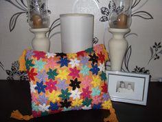 Rainbow flower crocheted pillow case pillow by SorinelaSavini