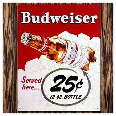 アメリカン雑貨 TINサイン(ブリキ看板) Budweiser(バドワイザー) レトログラス レッドバック | アメリカ雑貨のマーブルマーブル