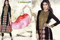Latest Collection of Shilpa Shetty Black #Anarkali #Suits Get Up TO 10% Extra Discount.+ Discount Promo RS. 250 OFF On Offer Price.  Pay Online And Save More.  Shop Now : - http://www.shoppers99.com/shilpa_shetty__designer__anarkali__suits/shilpa_shetty_black_anarkali_suit_t-765-932