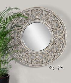 Uttermost Cordillera Distressed Ivory Mirror 09510