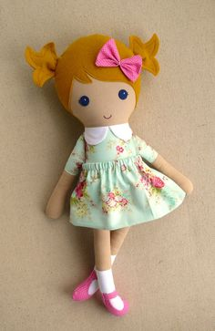 Fabric Doll Rag Doll Blond Haired Girl in Pale Aqua by rovingovine