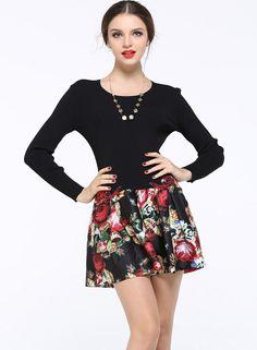 Black Long Sleeve Embroidered Slim Dress EUR€49.54