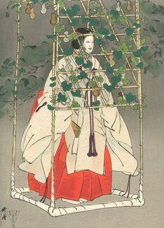 "TSUKIOKA KOGYO Japanese woodblock print ORIGINAL Ukiyoe Noh play ""Hajitomi"""
