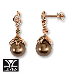 Wear the trend now!  Chocolate  Pearls® & Chocolate Diamonds®  Earrings with Vanilla Diamonds® accents in 14K Strawberry Gold®