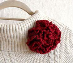 Crochet Corsage Brooch Carnation Flower by CraftsbySigita on Etsy,