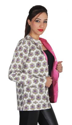 d5dee77c3f Women's Cotton Full Sleeve Jacket - White -This is a handmade kantha quilt  Cotton Jacket for women. We are the leading supplier manufacture wholesale  and ...