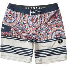 """18.5"""" MODERN FIT The Suicides are vividly exotic washed 4-Way stretch boardshorts made with coconut fibers. Featuring geo print with stripe breakup, contrast ..."""