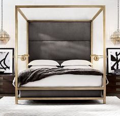RH Modern's Montrose High Panel Four-Poster Bed:Inspired by the streamlined . - RH Modern's Montrose High Panel Four-Poster Bed:Inspired by the streamlined … - Home Decor Bedroom, Bedroom Furniture, Bedroom Ideas, Bedroom Sconces, Bedroom Headboards, Bedroom Lighting, Bedroom Designs, Rustic Furniture, Furniture Design