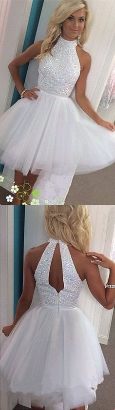 Halter Homecoming Dress,White Homecoming Dresses,Tulle Homecoming Dress,Short…